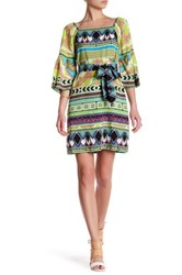 Hale Bob Off The Shoulder 3 4 Sleeve Waist Tie Print Dress Green