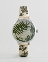 Asos Design Curve Embroidered Palm Leaf Woven Watch Straw Effect Brown