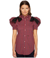 Dsquared Check Cotton Puff Short Sleeves Shirt Red Blue White Women's Clothing