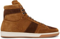 Saint Laurent Tan Suede Court Classic High Top Sneakers