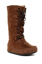 Fitflop Mukluk Genuine Shearling Lined Tall Boot Brown
