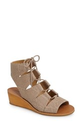 Lucky Brand Women's Gizi Wedge Sandal Feather Grey Leather