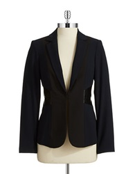 Calvin Klein Petite Faux Leather Accented Blazer Navy Black