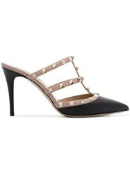 Valentino Black And Nude Rockstud Backless Leather Mules Nude And Neutrals