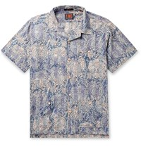 The Workers Club Camp Collar Printed Cotton Shirt Blue