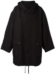 Ann Demeulemeester Blanche Hooded Oversized Coat Black