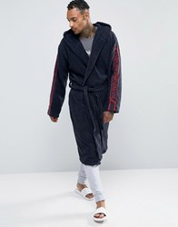 Emporio Armani Logo Hooded Dressing Gown In Navy Navy