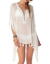 Becca Swim Lace Up Cover Up Tunic White