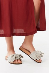 Urban Outfitters Uo Linen Twist Pool Slide Cream