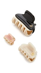 Alexandre De Paris Set Of 3 Hair Clips Cream Rose Black