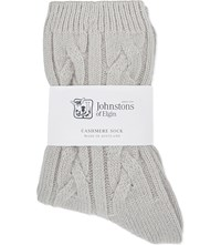 Johnstons Cable Knit Cashmere Socks Quill