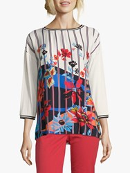 Betty Barclay Embellished Floral Graphic Top Cream Dark Blue