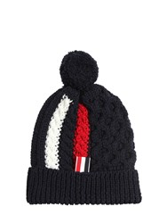 Thom Browne Merino Wool Cable Knit Hat W Pompom
