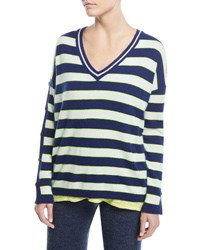 Minnie Rose Stripe Cashmere Button Sleeve Sweater Plus Size Neon Margarita