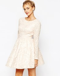 Chi Chi London Allover Sequin Mesh Prom Skater Dress Pink