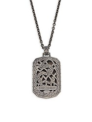 John Hardy Naga Dragon Dog Tag Necklace Black