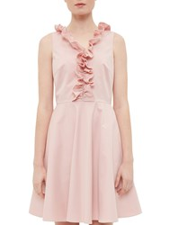 Ted Baker Emalia Ruffled V Neck Skater Dress Dusky Pink