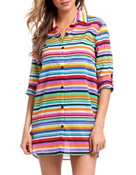 Anne Cole Striped Boyfriend Shirt Cover Up Pink Multi
