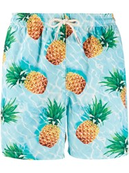 Mc2 Saint Barth Pineapple Print Swim Shorts Blue
