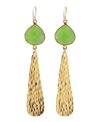 Devon Leigh 18K Hammered Gold And Green Chalcedony Drop Earrings