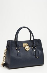 Michael Michael Kors 'Medium Hamilton' Saffiano Leather Satchel Blue Navy