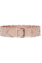 Alaia Perforated Leather Waist Belt Nude