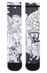 The Rail Graffiti Print Socks Black White