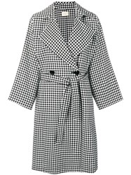 Simon Miller Houndstooth Double Breasted Coat Black