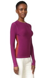 Narciso Rodriguez Long Sleeve Top Deep Magenta Burnt Sienna