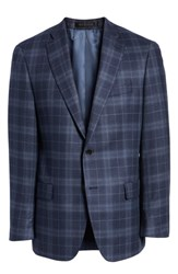 Hart Schaffner Marx Classic Fit Plaid Wool And Silk Sport Coat Navy