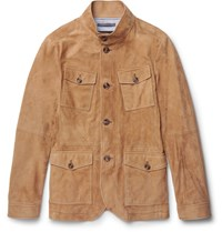 Michael Kors Slim Fit Nappa Suede Field Jacket Brown