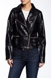 Tov Studded Double Buckle Faux Leather Jacket Black