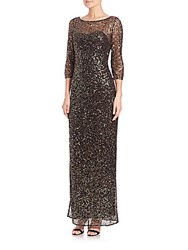 Kay Unger Sequin Lace Three Quarter Sleeve Gown Black Gold