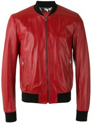 Dolce And Gabbana Perforated Bomber Jacket Red