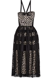 Temperley London Satin Paneled Lace Dress Black