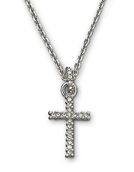 Swarovski Silvertone Crystal Pave Cross Pendant Necklace