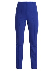 Diane Von Furstenberg High Rise Skinny Stretch Crepe Trousers Blue