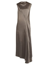 Raey Stitch Front Satin Maxi Dress Grey