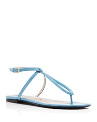 Furla Regina Patent T Strap Flat Sandals Light Blue