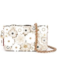 Coach 'Print Dinky' Floral Applique Crossbody Bag White