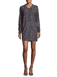 Equipment Leopard Print Long Sleeve Cashmere Dress Smoke