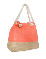 Magid Metallic Paper Straw Tote Coral Gold