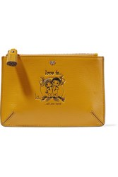 Anya Hindmarch Love Is Small Printed Textured Leather Pouch Mustard