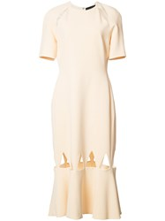 David Koma Hem Cut Out Dress Nude Neutrals