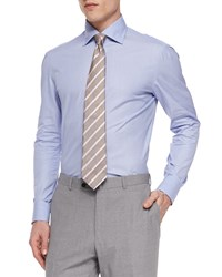 Isaia Woven Solid Dress Shirt Aqua Blue