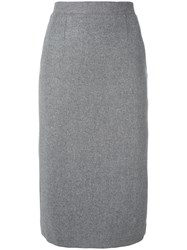 Olympia Le Tan Pencil Skirt With Pleated Back Women Wool 36 Grey