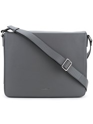Cerruti 1881 Flap Cover Messenger Bag Men Calf Leather One Size Grey
