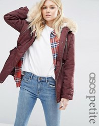 Asos Petite Ultimate Parka Berry Red