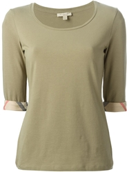 Burberry Brit Three Quarter Length Sleeve T Shirt Green