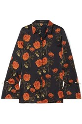 Mother Of Pearl Vera Faux Embellished Floral Print Silk Satin Shirt Black